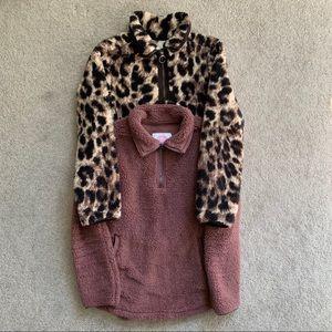 Leopard Rose sherpa pullover tops medium 2 for 1
